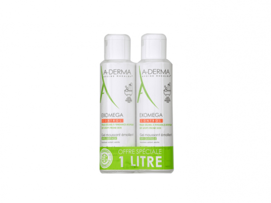 A-derma Exomega Gel moussant émollient - Lot de 2x500ml