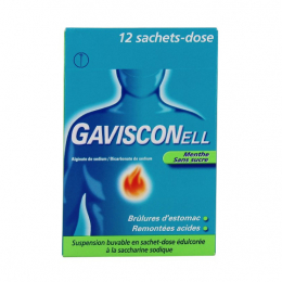 Gavisconell Menthe Sans Sucre Suspension Buvable - 12 Sachets-Dose