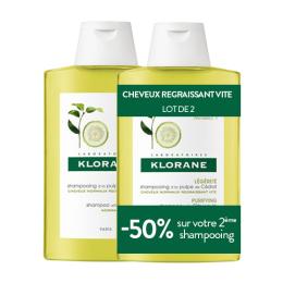 Klorane shampooing pulpe cédrat - 2x400ml