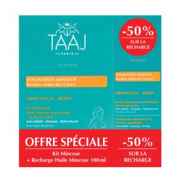 Taaj Abhyanga body kit minceur 100ml+ recharge 100ml + gant + livret recettes détox