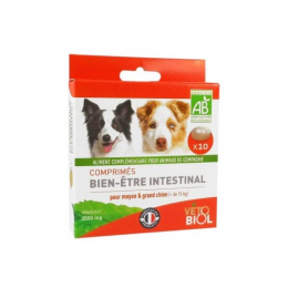 Vétobiol Comprimés bien-être intestinal moyen et grand chien - 10 comprimés