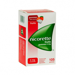 Nicorette Fruits 4mg sans sucre - 105 gommes à mâcher