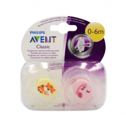 Avent sucettes 0-6 mois - Duo tigre & flamant rose