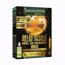 Santarome Gelée royale Pollen Propolis Miel de Manuka BIO - 20 ampoules