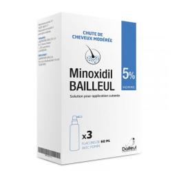 Bailleul Minoxidil 5% solution pour application cutanée - 3x60ml