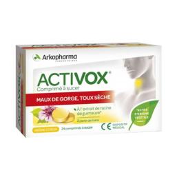 Arkopharma Activox maux de gorge toux sèche - 24 comprimés