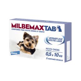 Milbemax Tab petits chiens et chiots de 0,5 à 10kg - 2 comprimés
