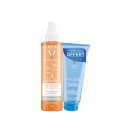 Vichy soleil SPF50 Spray Protecteur réhydratant 200ml + lait après solaire 100ml