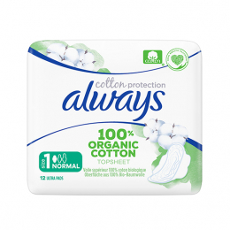 Always Cotton Protection Ultra Normal (Taille 1) BIO - 12 serviettes