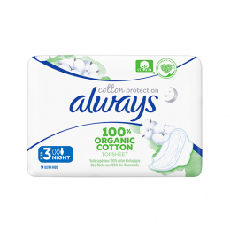 Always Cotton Protection Ultra Night (Taille 3) BIO - 9 serviettes