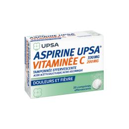 Aspirine Upsa vitaminée C 330mg - 20 comprimés effervescents