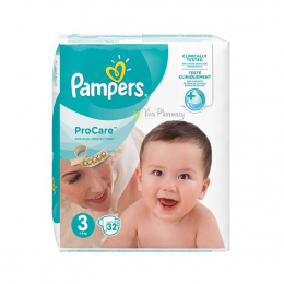 Pampers procare premium protection taille 3 (5-9 kg)- 32 couches