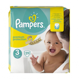 Pampers  Couches 5-9kg Premium Protection 3  - x29 unités