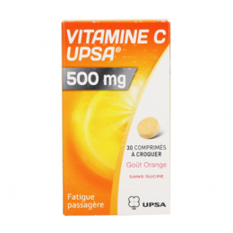 Vitamine C Upsa 500mg 30 comprimés à croquer orange