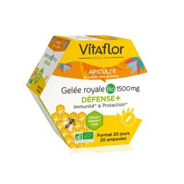 Vitaflor Gelée royale bio Défense+ 1500 mg - 20 ampoules