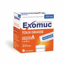 Exomuc 200mg Toux grasse Granulés pour solution buvable - 24 sticks