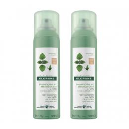 Klorane shampooing sec teinté cheveux gras châtains à bruns - 2x150ml