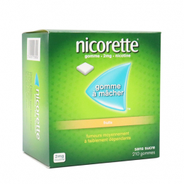 Nicorette 2mg fruits sans sucre -210 gommes à macher
